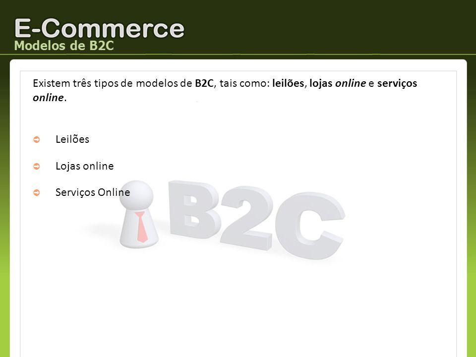 Modelos de B2C Existem três tipos de modelos de B2C, tais como: leilões, lojas online e serviços online. Leilões Lojas online Serviços Online