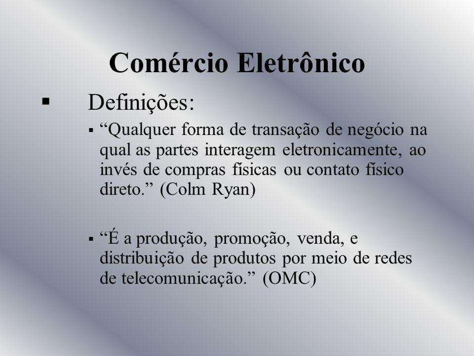 Comércio Eletrônico Definição O Comércio Eletrônico se refere ao comércio que atualmente ocorre na Internet através de um consumidor que acessa um sit