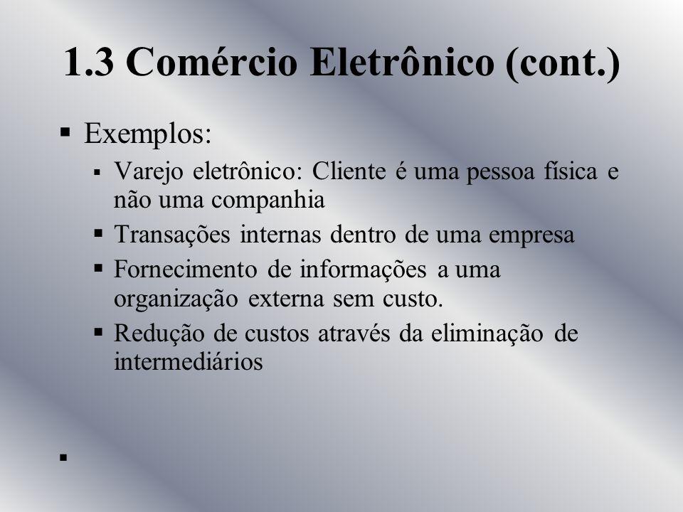Comércio Eletrônico Definições: Qualquer forma de transação de negócio na qual as partes interagem eletronicamente, ao invés de compras físicas ou con