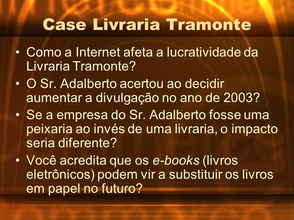 Case Livraria Tramonte Como a Internet afeta a lucratividade da Livraria Tramonte? O Sr. Adalberto acertou ao decidir aumentar a divulgação no ano de