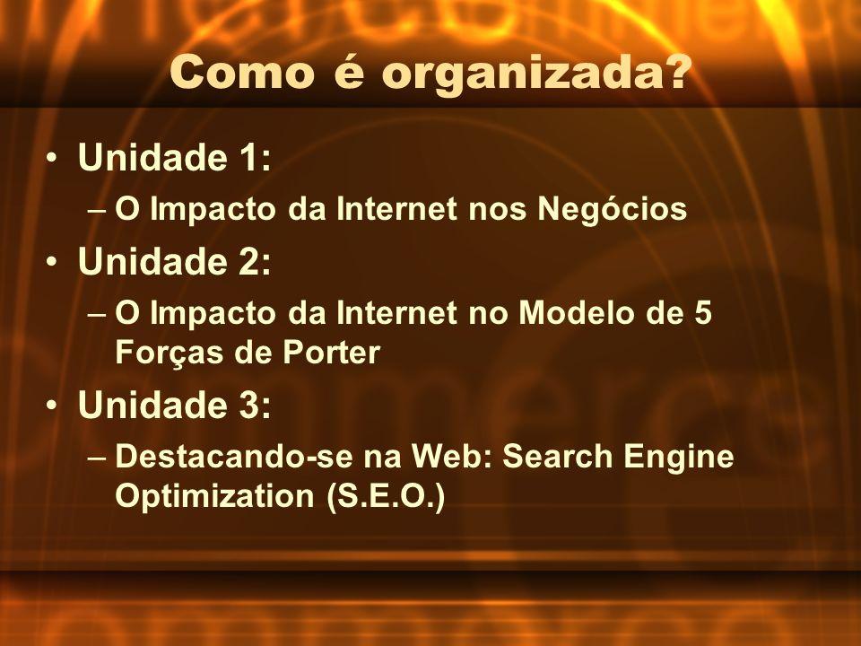 Como é organizada? Unidade 1: –O Impacto da Internet nos Negócios Unidade 2: –O Impacto da Internet no Modelo de 5 Forças de Porter Unidade 3: –Destac