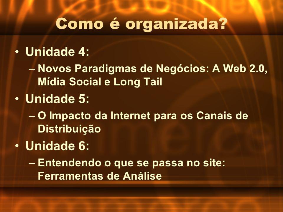Como é organizada? Unidade 4: –Novos Paradigmas de Negócios: A Web 2.0, Mídia Social e Long Tail Unidade 5: –O Impacto da Internet para os Canais de D