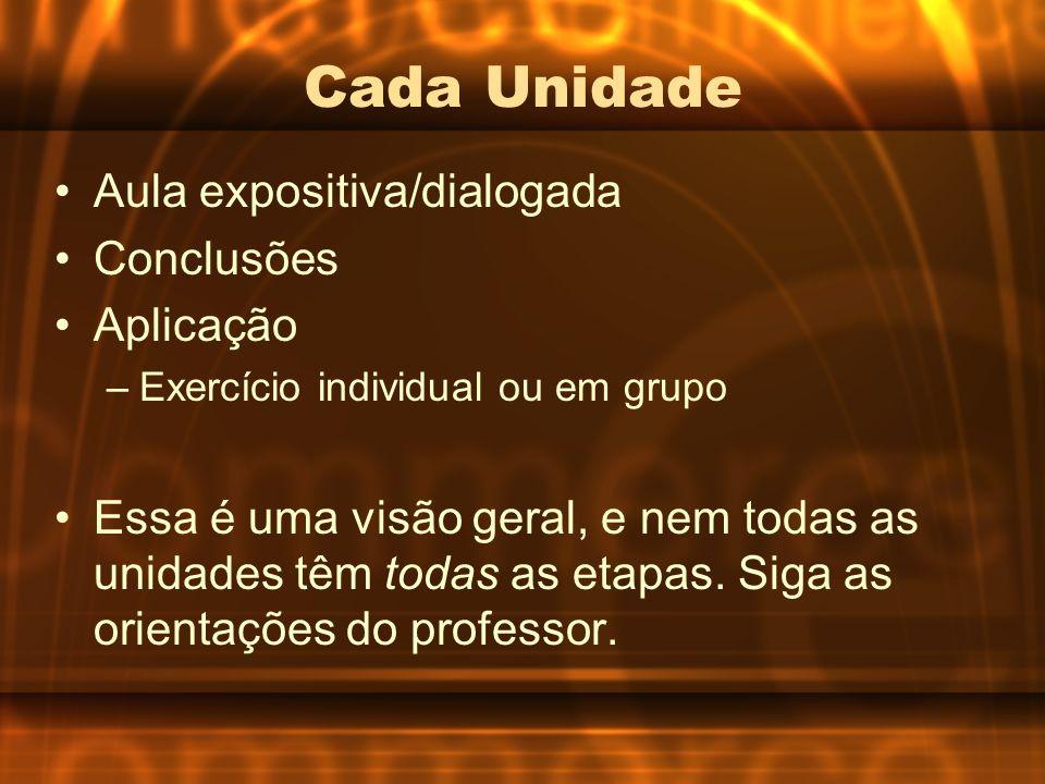 Cada Unidade Aula expositiva/dialogada Conclusões Aplicação –Exercício individual ou em grupo Essa é uma visão geral, e nem todas as unidades têm toda