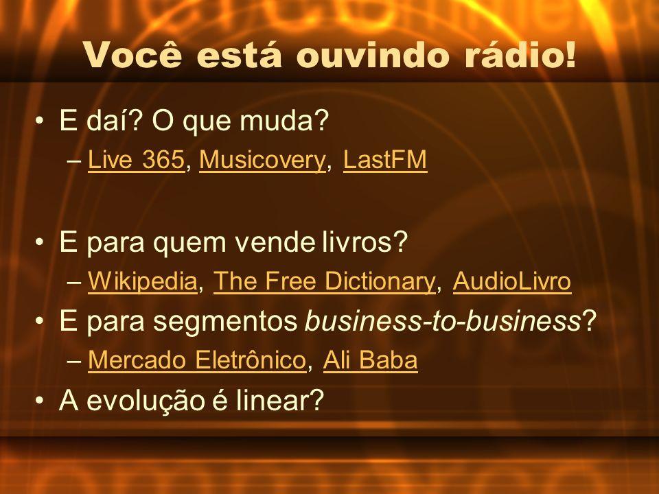Você está ouvindo rádio! E daí? O que muda? –Live 365, Musicovery, LastFMLive 365MusicoveryLastFM E para quem vende livros? –Wikipedia, The Free Dicti