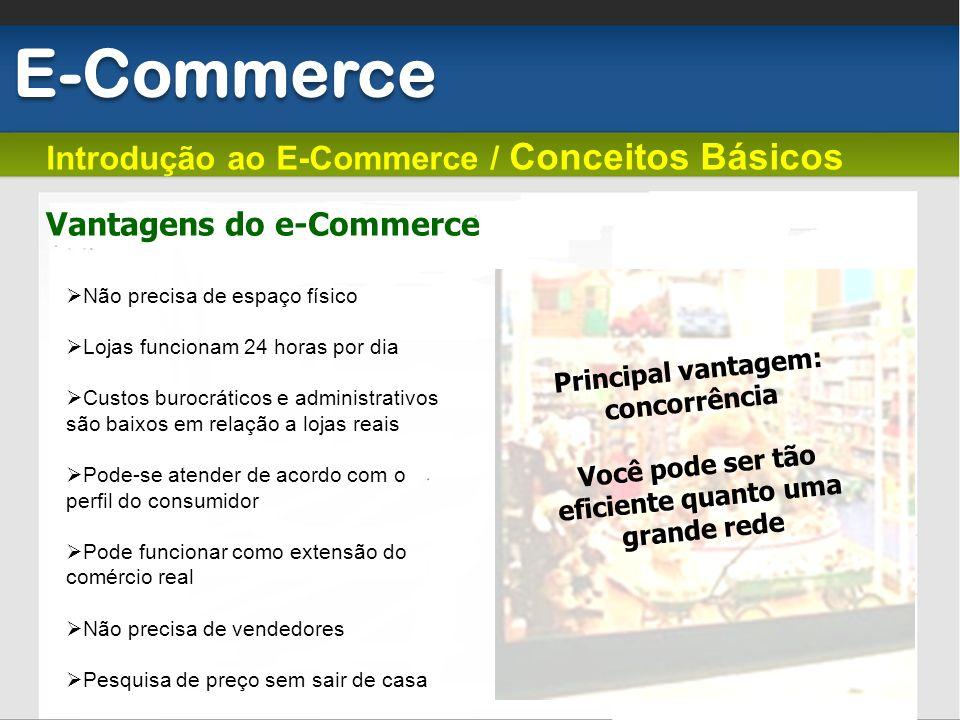 E-Commerce Introdução ao E-Commerce / Conceitos Básicos Não precisa de espaço físico Lojas funcionam 24 horas por dia Custos burocráticos e administra