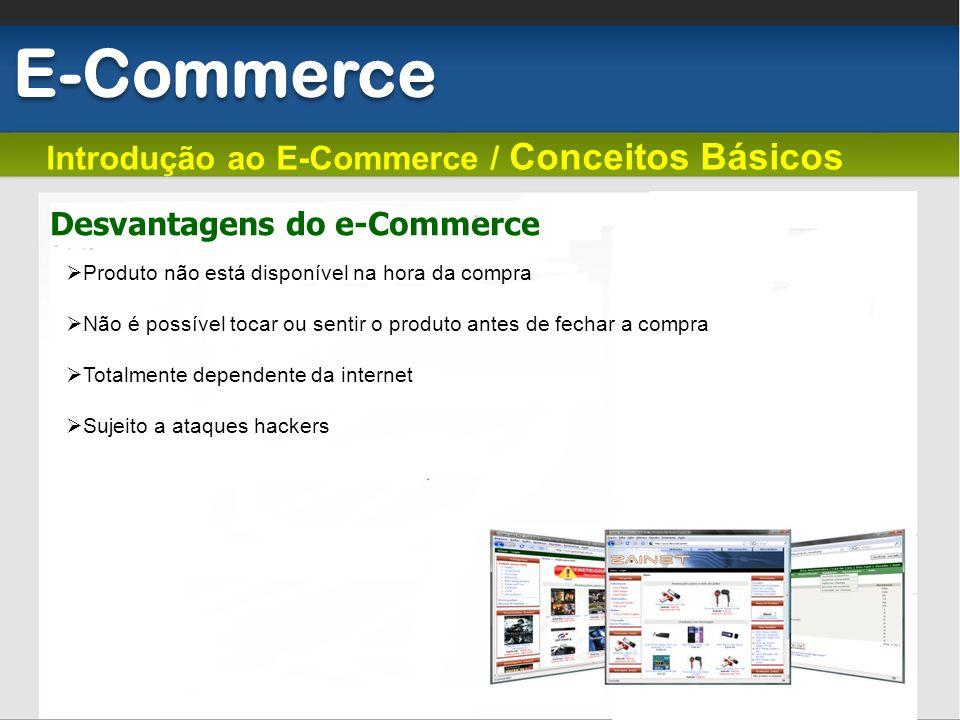 Introdução ao E-Commerce / Conceitos Básicos Desvantagens do e-Commerce E-Commerce Produto não está disponível na hora da compra Não é possível tocar