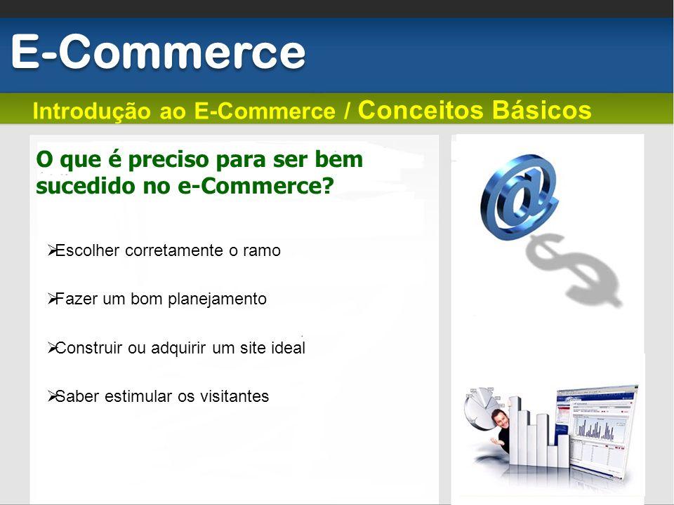 Introdução ao E-Commerce / Conceitos Básicos E-Commerce O que é preciso para ser bem sucedido no e-Commerce? Escolher corretamente o ramo Fazer um bom
