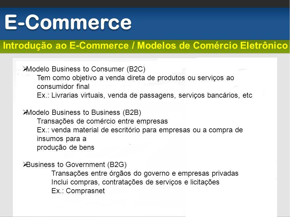 Introdução ao E-Commerce / Modelos de Comércio Eletrônico E-Commerce Modelo Business to Consumer (B2C) Tem como objetivo a venda direta de produtos ou