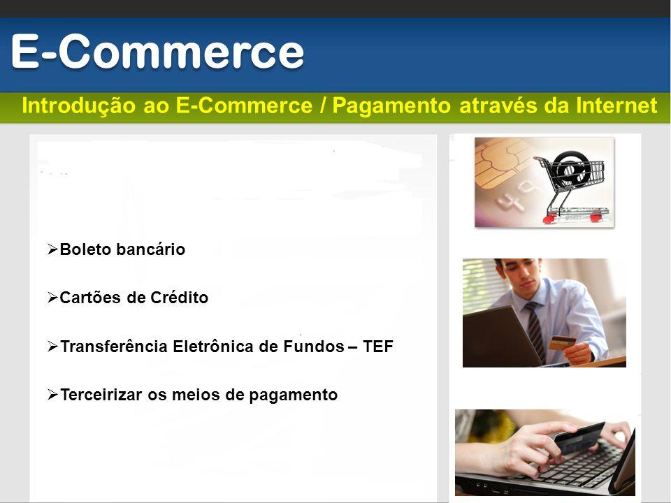 Introdução ao E-Commerce / Pagamento através da Internet E-Commerce Boleto bancário Cartões de Crédito Transferência Eletrônica de Fundos – TEF Tercei