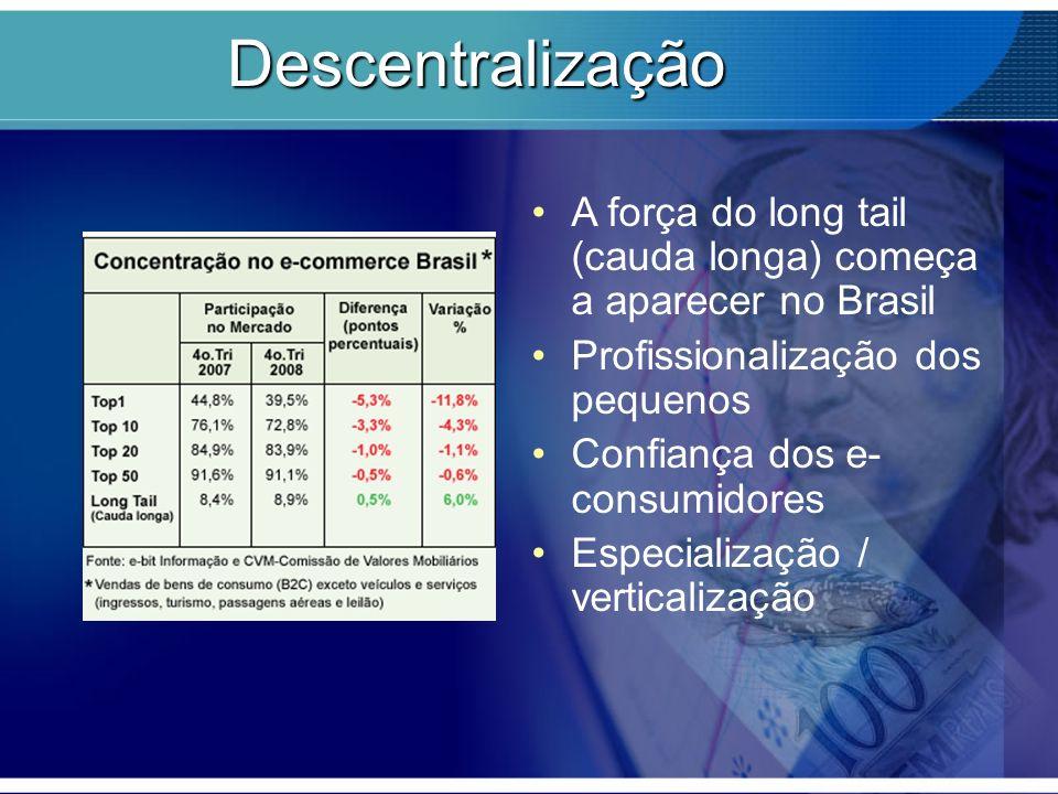Descentralização A força do long tail (cauda longa) começa a aparecer no Brasil Profissionalização dos pequenos Confiança dos e- consumidores Especial