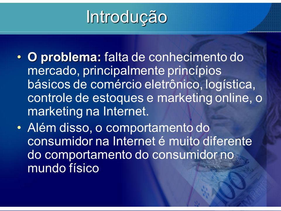 Introdução O problema:O problema: falta de conhecimento do mercado, principalmente princípios básicos de comércio eletrônico, logística, controle de e