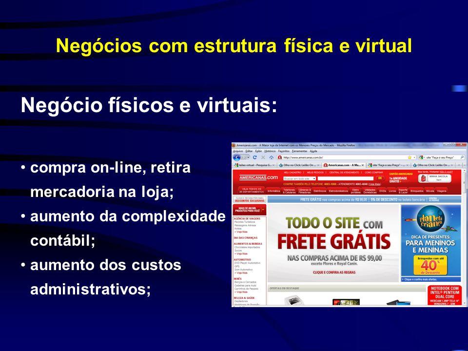 Negócios com estrutura física e virtual Negócio físicos e virtuais: compra on-line, retira mercadoria na loja; aumento da complexidade contábil; aumen