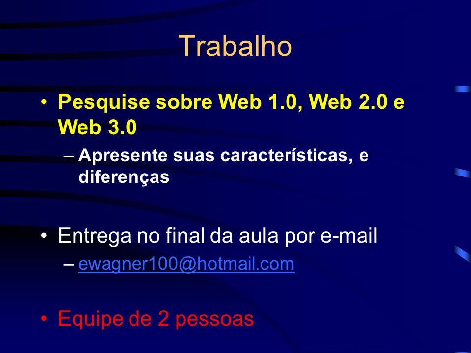 Pesquise sobre Web 1.0, Web 2.0 e Web 3.0 –Apresente suas características, e diferenças Entrega no final da aula por e-mail –ewagner100@hotmail.comewa
