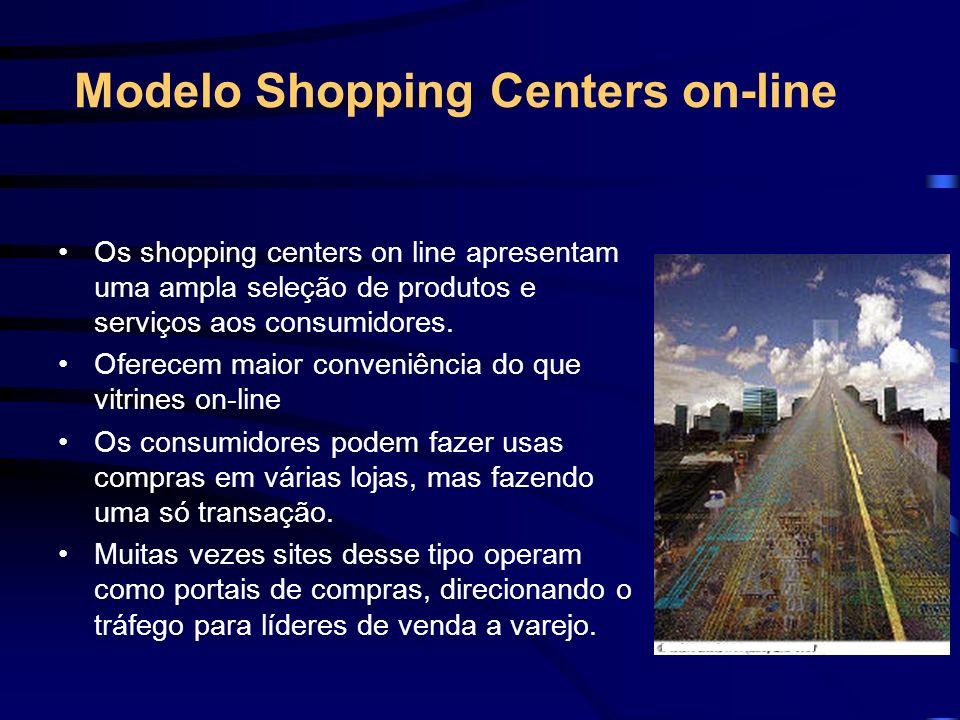 Modelo Shopping Centers on-line Os shopping centers on line apresentam uma ampla seleção de produtos e serviços aos consumidores. Oferecem maior conve