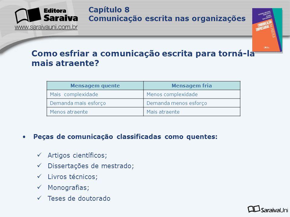 Capa da Obra Capítulo 8 Comunicação escrita nas organizações Peças de comunicação classificadas como quentes: Artigos científicos; Dissertações de mes
