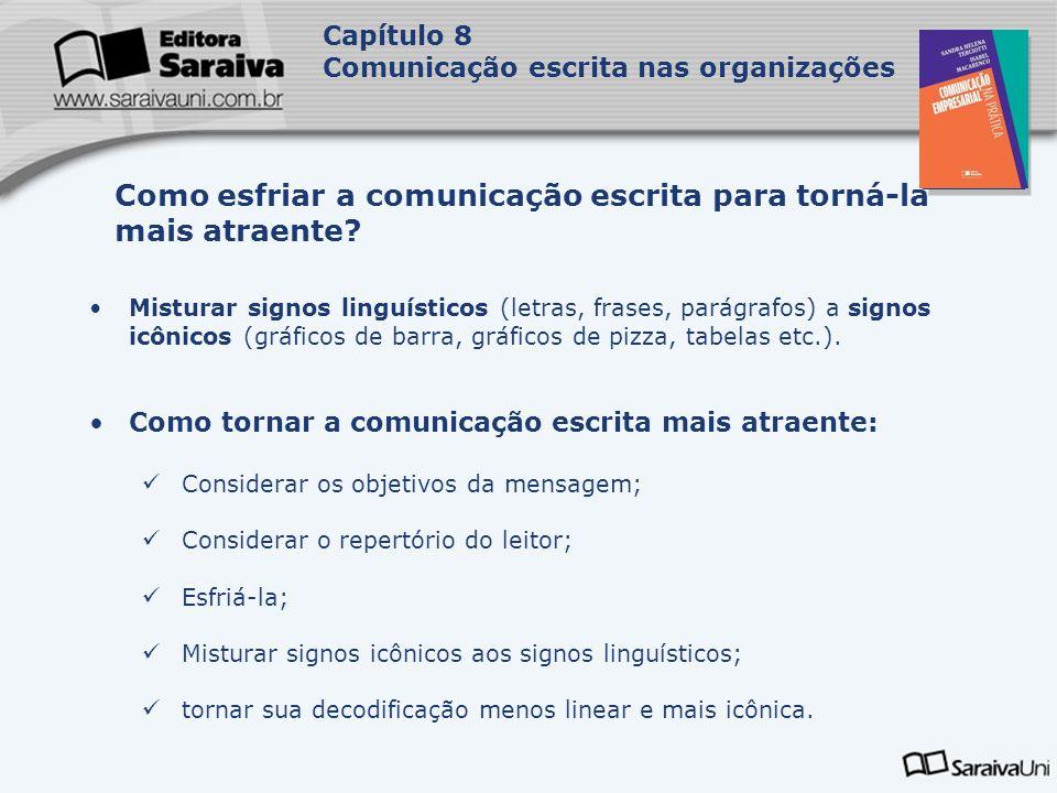 Capa da Obra Capítulo 8 Comunicação escrita nas organizações Misturar signos linguísticos (letras, frases, parágrafos) a signos icônicos (gráficos de