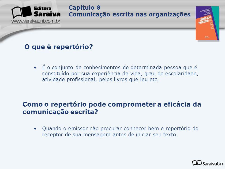 Capa da Obra Capítulo 8 Comunicação escrita nas organizações Caracteriza-se pela previsibilidade ou repetição do conteúdo da mensagem, podendo ocorrer espontânea ou intencionalmente.