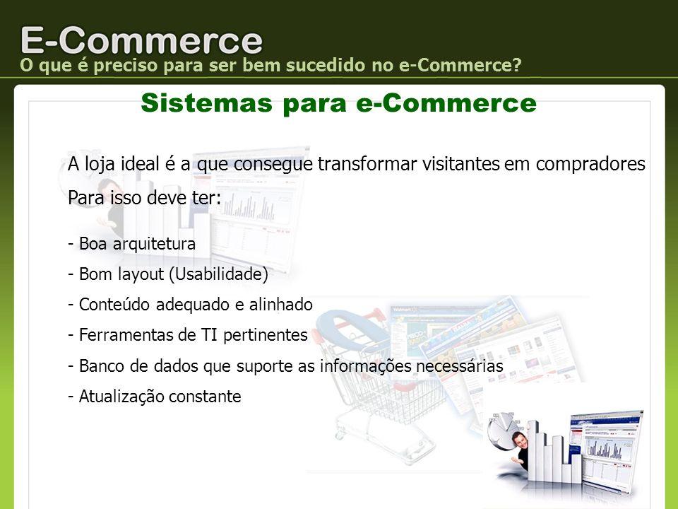 O que é preciso para ser bem sucedido no e-Commerce? Sistemas para e-Commerce A loja ideal é a que consegue transformar visitantes em compradores Para