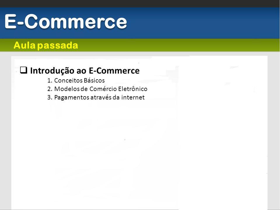 E-Commerce Introdução ao E-Commerce 1. Conceitos Básicos 2. Modelos de Comércio Eletrônico 3. Pagamentos através da internet Aula passada