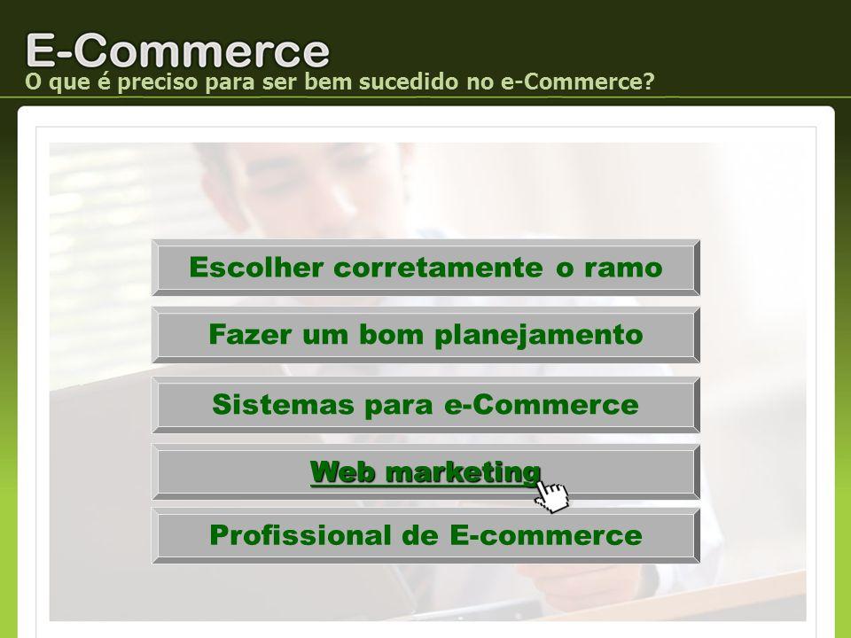 Escolher corretamente o ramo Fazer um bom planejamento Sistemas para e-Commerce Web marketing O que é preciso para ser bem sucedido no e-Commerce? Pro
