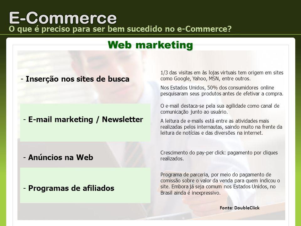 O que é preciso para ser bem sucedido no e-Commerce? Web marketing - Inserção nos sites de busca 1/3 das visitas em às lojas virtuais tem origem em si