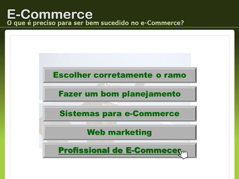 Escolher corretamente o ramo Fazer um bom planejamento Sistemas para e-Commerce Web marketing Profissional de E-Commecer O que é preciso para ser bem