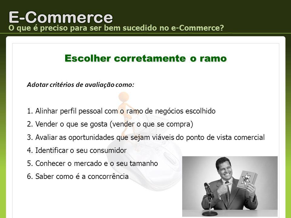 O que é preciso para ser bem sucedido no e-Commerce? Escolher corretamente o ramo Adotar critérios de avaliação como: 1. Alinhar perfil pessoal com o
