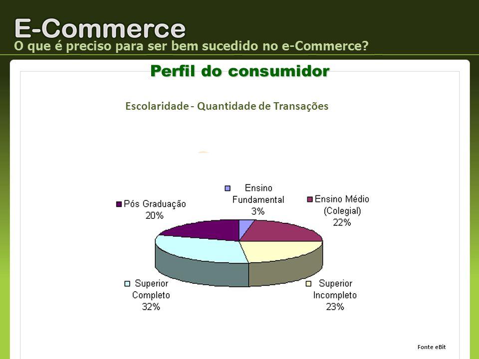 O que é preciso para ser bem sucedido no e-Commerce? Perfil do consumidor Escolaridade - Quantidade de Transações Fonte eBit
