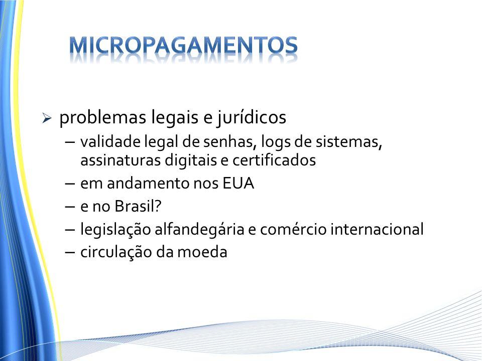 problemas legais e jurídicos – validade legal de senhas, logs de sistemas, assinaturas digitais e certificados – em andamento nos EUA – e no Brasil? –