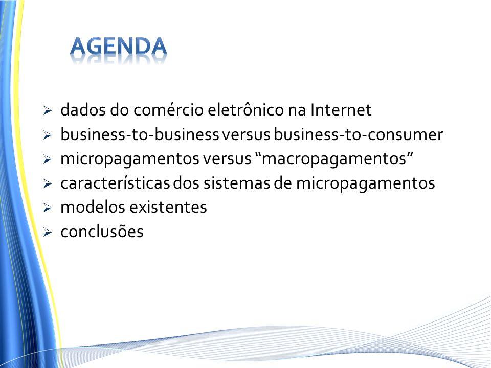 dados do comércio eletrônico na Internet business-to-business versus business-to-consumer micropagamentos versus macropagamentos características dos s