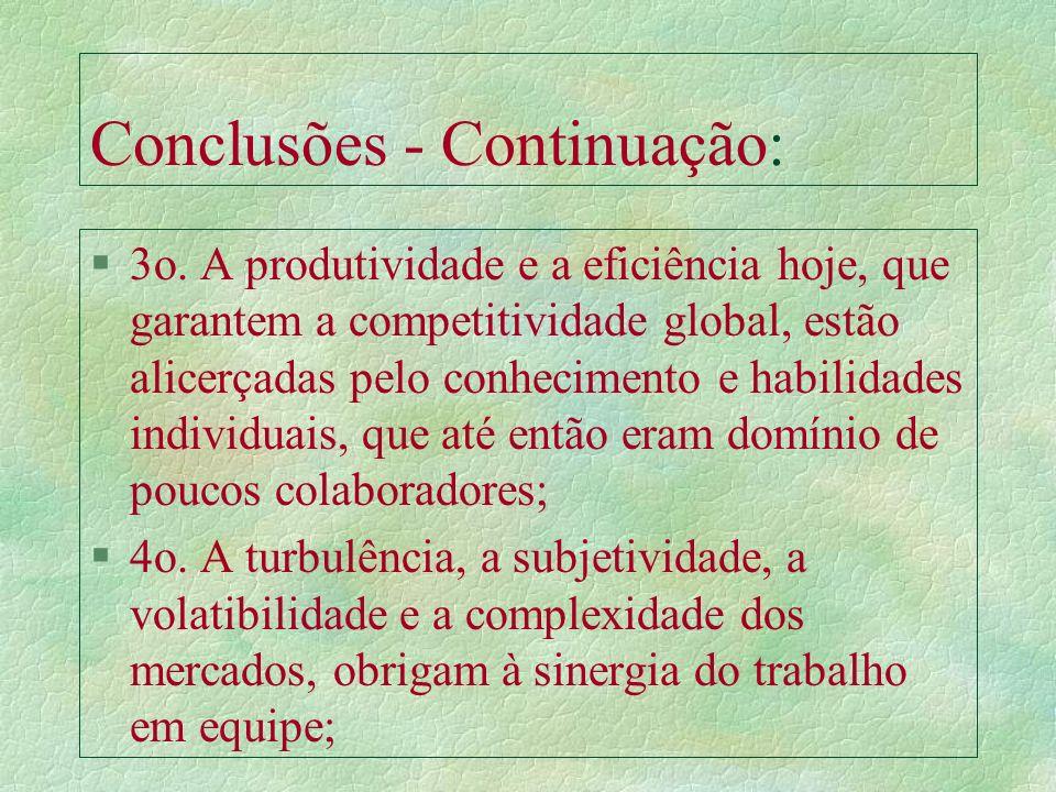 Conclusões: §1o. Os RH deixaram de ser entendidos apenas como um simples elemento do processo produtivo (Adm. Clássica). §2o. Mesmo a ênfase dada à mo