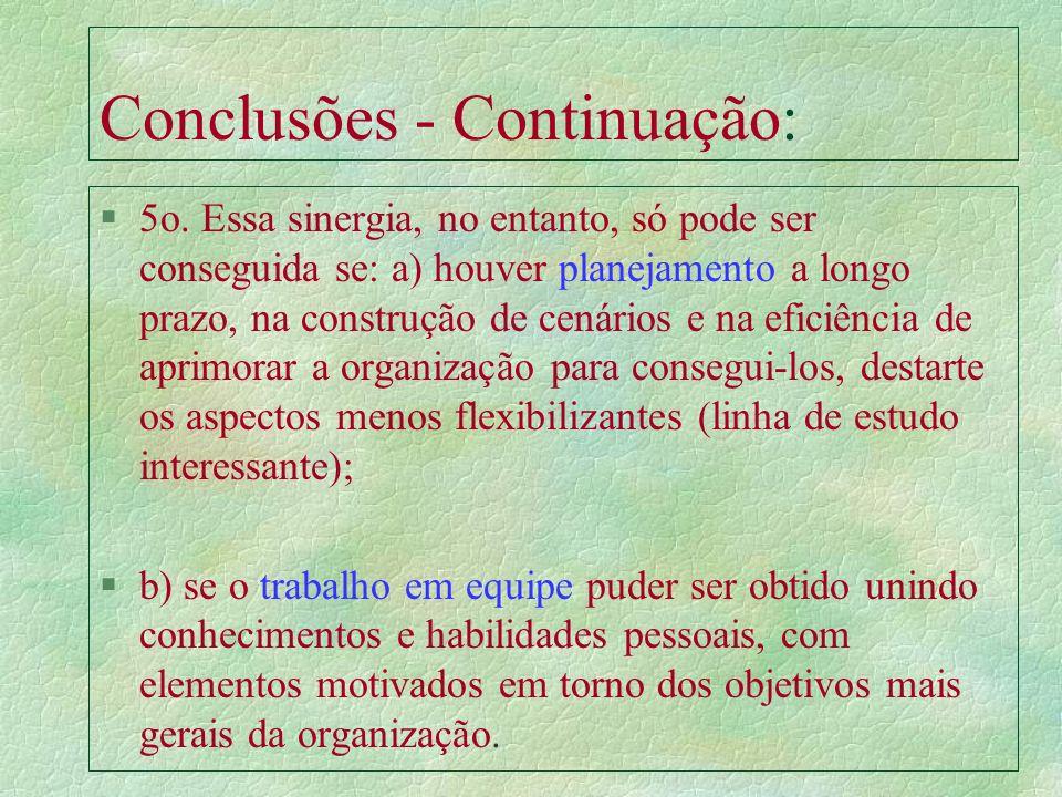 Conclusões - Continuação: §3o. A produtividade e a eficiência hoje, que garantem a competitividade global, estão alicerçadas pelo conhecimento e habil