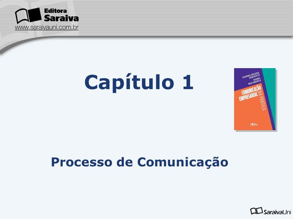 Capa da Obra Capítulo 1 Processo de Comunicação Comunicação é o ato de compartilhar informações entre duas ou mais pessoas, com a finalidade de persuadir ou de obter um entendimento comum a respeito de um assunto ou de uma situação.
