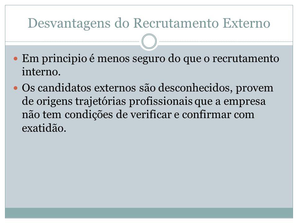 Desvantagens do Recrutamento Externo Em principio é menos seguro do que o recrutamento interno. Os candidatos externos são desconhecidos, provem de or