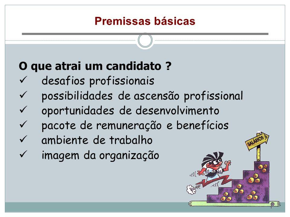 Premissas básicas O que atrai um candidato ? desafios profissionais possibilidades de ascensão profissional oportunidades de desenvolvimento pacote de