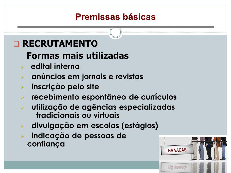 Premissas básicas RECRUTAMENTO Formas mais utilizadas edital interno anúncios em jornais e revistas inscrição pelo site recebimento espontâneo de curr