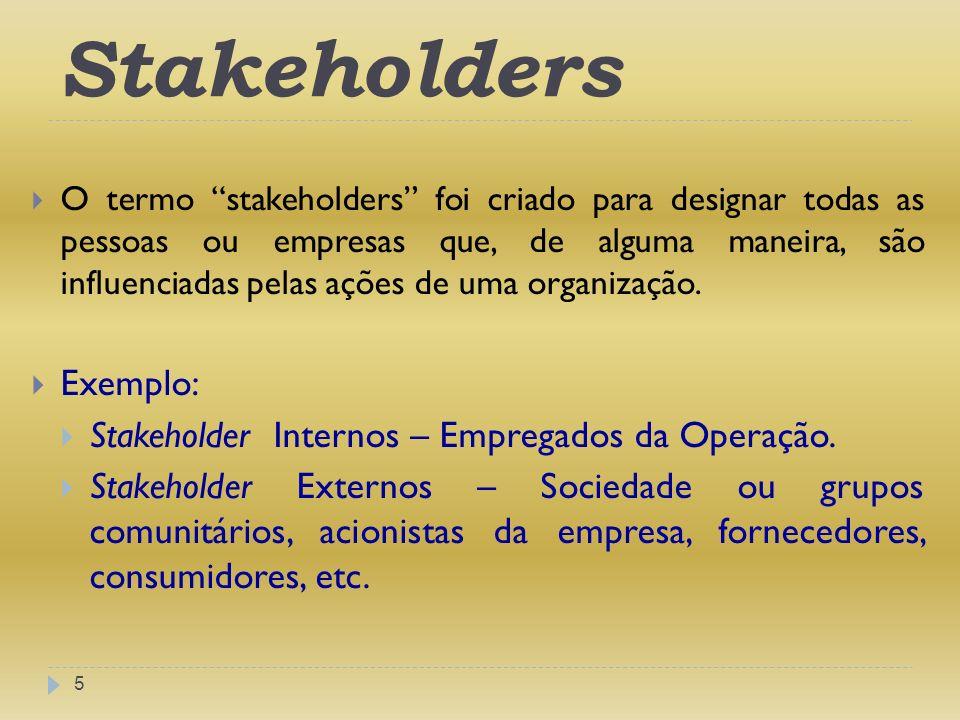 Stakeholders 5 O termo stakeholders foi criado para designar todas as pessoas ou empresas que, de alguma maneira, são influenciadas pelas ações de uma