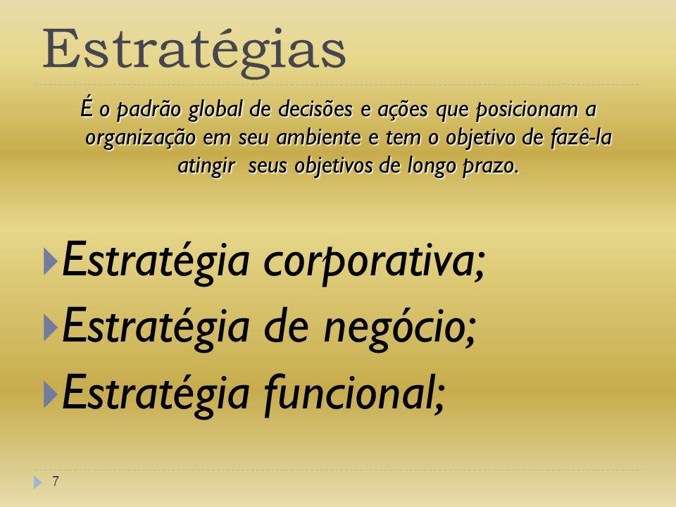 Estratégia Corporativa 8 Esta estratégia posicionará a empresa em seu ambiente global, econômico, político e social, e consistirá em decisões sobre quais tipos de negócios o grupo quer conduzir, em quais partes do mundo deseja operar, quais negócios adquirir e de quais desfazer-se, como alocar seu dinheiro entre os vários negócios, etc.