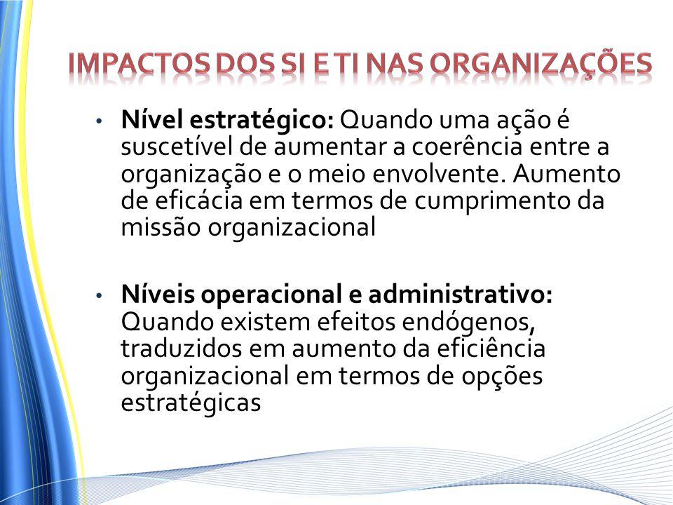 Nível estratégico: Quando uma ação é suscetível de aumentar a coerência entre a organização e o meio envolvente. Aumento de eficácia em termos de cump