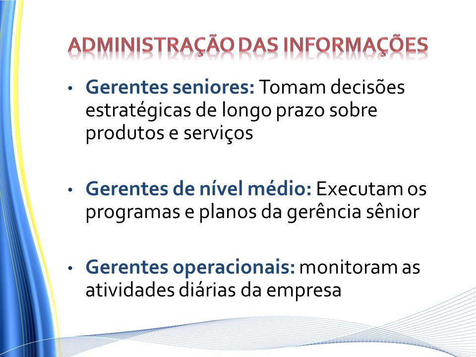 Gerentes seniores: Tomam decisões estratégicas de longo prazo sobre produtos e serviços Gerentes de nível médio: Executam os programas e planos da ger