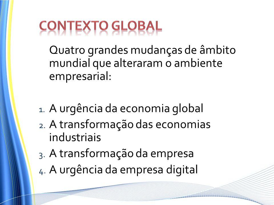 Quatro grandes mudanças de âmbito mundial que alteraram o ambiente empresarial: 1. A urgência da economia global 2. A transformação das economias indu