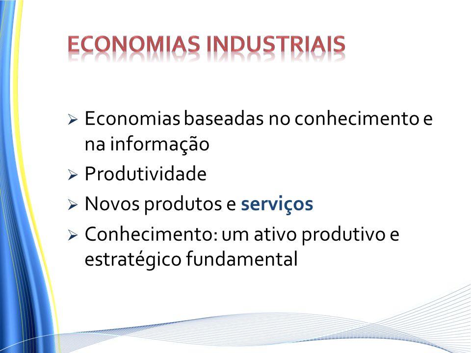 Economias baseadas no conhecimento e na informação Produtividade Novos produtos e serviços Conhecimento: um ativo produtivo e estratégico fundamental