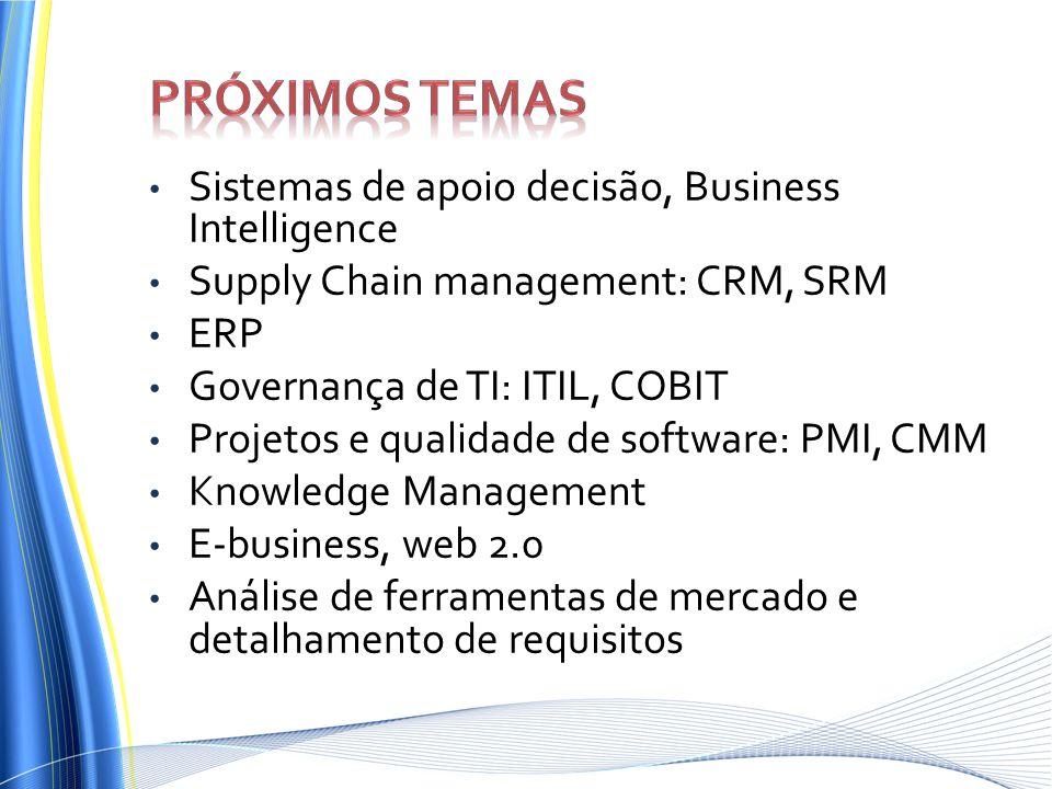 Sistemas de apoio decisão, Business Intelligence Supply Chain management: CRM, SRM ERP Governança de TI: ITIL, COBIT Projetos e qualidade de software: