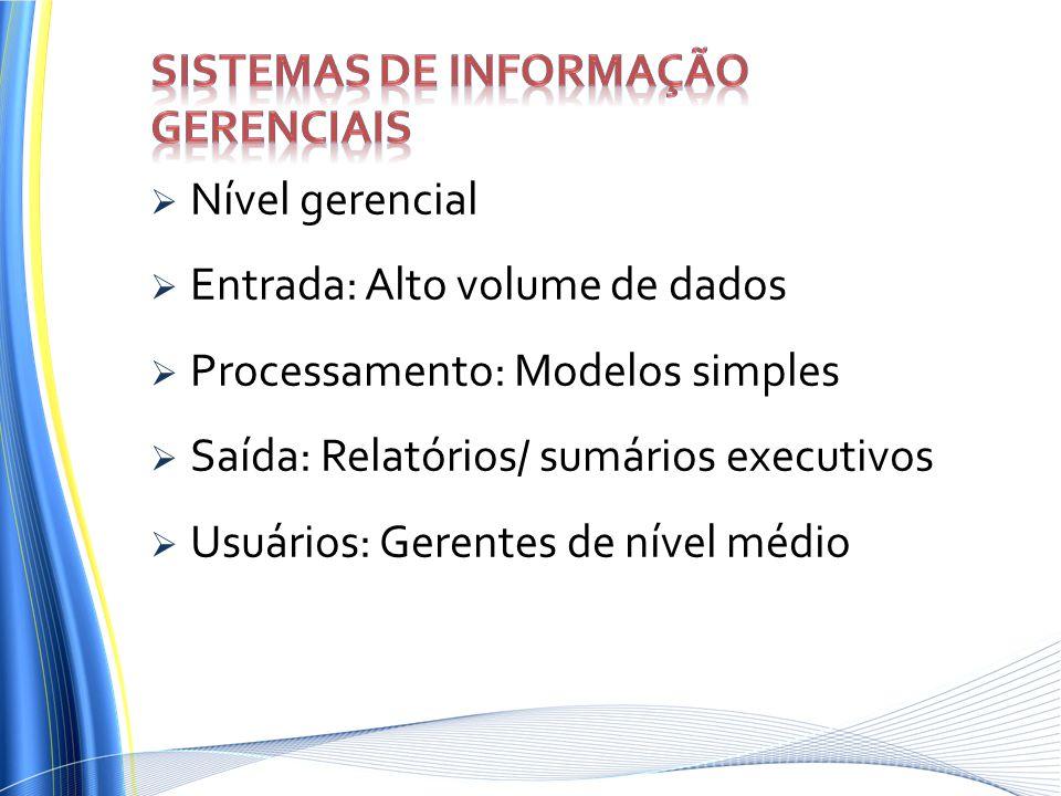 Nível gerencial Entrada: Alto volume de dados Processamento: Modelos simples Saída: Relatórios/ sumários executivos Usuários: Gerentes de nível médio