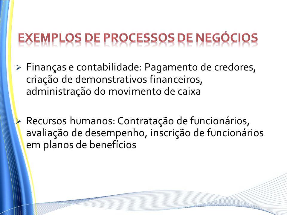 Finanças e contabilidade: Pagamento de credores, criação de demonstrativos financeiros, administração do movimento de caixa Recursos humanos: Contrata