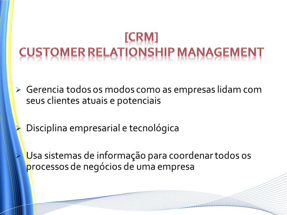 Gerencia todos os modos como as empresas lidam com seus clientes atuais e potenciais Disciplina empresarial e tecnológica Usa sistemas de informação p