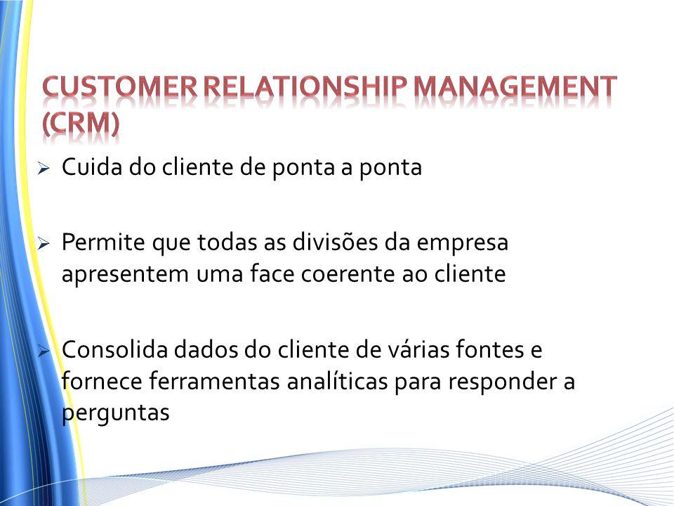 Cuida do cliente de ponta a ponta Permite que todas as divisões da empresa apresentem uma face coerente ao cliente Consolida dados do cliente de vária