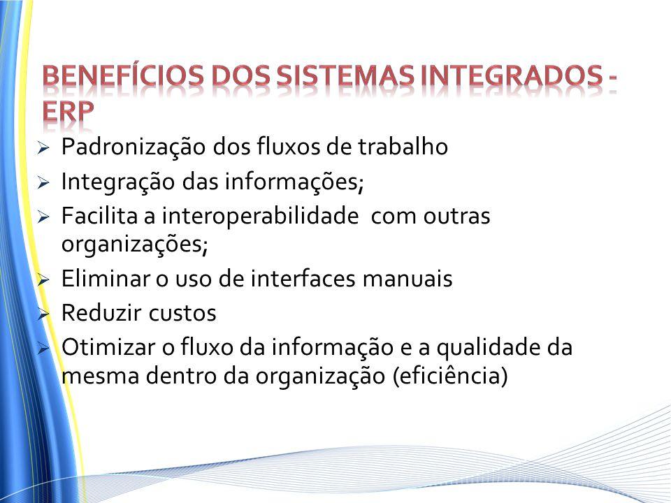 Padronização dos fluxos de trabalho Integração das informações; Facilita a interoperabilidade com outras organizações; Eliminar o uso de interfaces ma