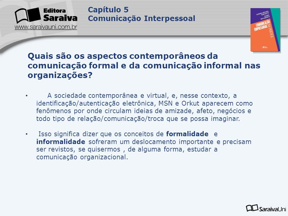 Capa da Obra Capítulo 5 Comunicação Interpessoal A sociedade contemporânea e virtual, e, nesse contexto, a identificação/autenticação eletrônica, MSN