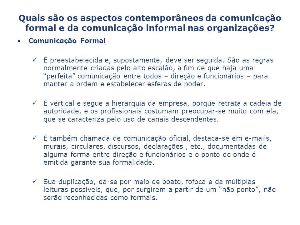Quais são os aspectos contemporâneos da comunicação formal e da comunicação informal nas organizações? Comunicação Formal É preestabelecida e, suposta